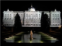 North facade of the Royal Palace at night seen from the Sabatini Gardens.