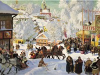 A provincial Russian town in winter, painting by Boris Kustodiyev