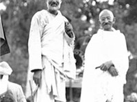 Ghaffar Khan with Mahatma Gandhi.""