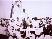 Gandhi at a public rally during the Salt Satyagraha.