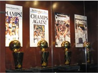 The San Antonio Spurs display their four Larry O'Brien Trophies from 1999, 2003, 2005 & 2007 at the
