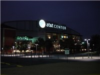 AT&T Center at night, the home of San Antonio Spurs.