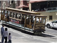 A cable car descending Nob Hill
