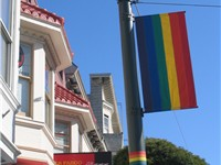 The rainbow flag, symbol of LGBT pride, originated in San Francisco; banners like this one decorate