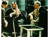 The founder of modern Saudi Arabia, King Abdul Aziz, converses with U.S. President Franklin Delano R