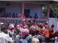 APC political rally in Kabala, Koinadugu District outside the home of supporters of the rival SLPP i