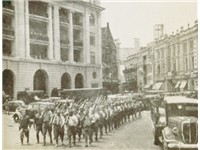 The Japanese Army marching in downtown Singapore