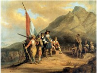 Painting of an account of the arrival of Jan van Riebeeck, the first European to settle in South Afr