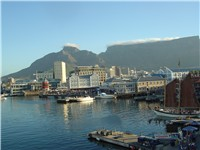 The Victoria & Alfred Waterfront in Cape Town with Table Mountain in the background. Cape Town has b