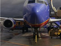 A Southwest aircraft prepares for its next flight at Bob Hope Airport in Burbank, California