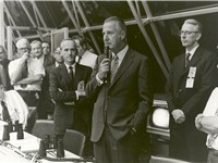 Spiro Agnew congratulates launch control after launch of Apollo 17 in 1972.