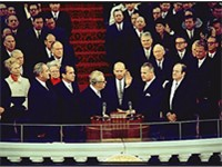 Spiro Agnew is sworn in as vice-president in 1969. From left to right: Lyndon B. Johnson, Richard Ni