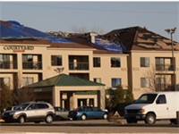 Hotel damaged by the 2006 Springfield tornadoes.