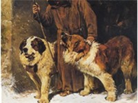 Painting by John Emms portraying St. Bernards as rescue dogs with brandy barrels around their neck.