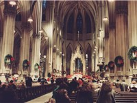 The nave of the cathedral decorated for Christmas Eve mass (December 1987).