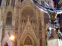View of the cathedral from across Fifth Avenue, with Lee Lawrie's bronze statue of Atlas in the righ