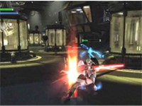 Starkiller attacking an Imperial shocktrooper in the Xbox 360 version of The Force Unleashed