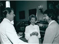 Steven Spielberg with President Ronald Reagan and Nancy Reagan after a showing of E.T. at the White