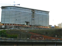 The Echo 24 apartment building nearing completion. Located on the south banks of the river close to