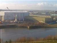 The Liebherr crane factory is the last remaining heavy industry on the River Wear in Sunderland.