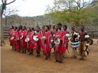 Swazi people dancing in a cultural village show.