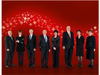 The Swiss Federal Council in 2009. The current members of the council are (from left to right): Fede