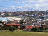 Bondi Beach in Sydney's east. Sydney's warm weather in summer makes its beaches very popular.