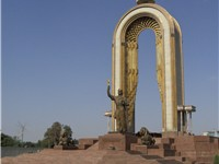 Modern Tajiks regard the Samanid Empire as the first Tajik state. This monument in Dushanbe honors I