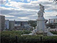 Lorelei Fountain in Joyce Kilmer Park overlooking Yankee Stadium.