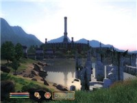 An in-game screenshot showing Oblivion's user interface, HDR lighting and long draw distance, improv