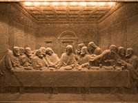 The Last Supper made in salt in Wieliczka Salt Mine (Poland)