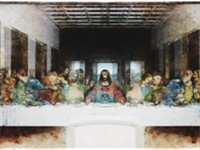 Leonardo da Vinci's The Last Supper superimposed with its mirror image