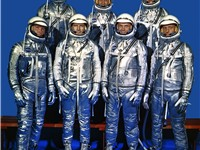 The Mercury Seven: (left to right, back row) Alan Shepard, Virgil &quot;Gus&quot; Grissom and L. Gordon Cooper