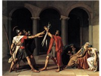 Jacques-Louis David's 1784 painting Oath of the Horatii is considered a likely source for elements o
