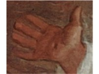 Detail of the victim's right hand which shows a stigma  a wound such as Christ suffered when nailed