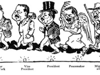 1910 cartoon shows Roosevelt's multiple roles from 1899 to 1910