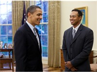 Woods meets with United States President Barack Obama in the White House.