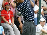 Woods practicing before 2004 Ryder Cup at Oakland Hills Country Club in Bloomfield Hills, Michigan