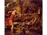 The Death of Actaeon. In Titian's later works, the forms lose their solidity and melt into the lush