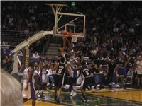 Parker attempts a layup in a game against the Milwaukee Bucks