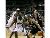 Parker in a 2007--08 game against Washington Wizards' Gilbert Arenas