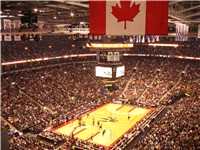 A packed ACC in a game against the Milwaukee Bucks on 3 November 2006. Toronto used an alternate log