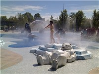 Splash Island is an educational water play area, themed to water: clouds to rain that flows into str