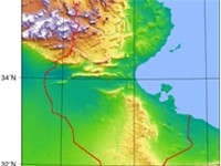 Topographic map of Tunisia.