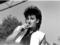 Bono performs in Norway during the War Tour in 1983.
