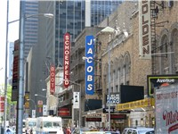New York City's Broadway theater district, host to many shows