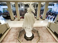 Opening ceremony of the Capitol Visitor Center, December 2008. The plaster cast model of the Statue