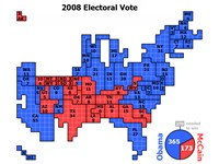 Cartogram of the Electoral Votes for 2008 United States presidential election, each square represent