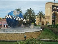 The entrance to the theme park features a model of the famous Universal Studios globe