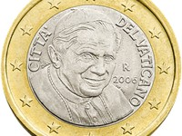 The reverse of the Vatican  1 coin produced in 2006 depicting the current pope, Benedict XVI